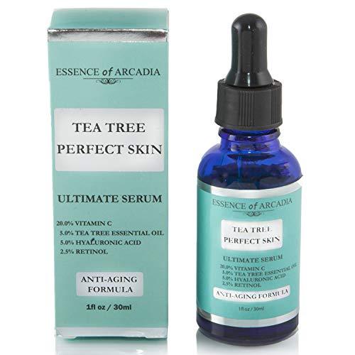 Tea Tree pelle perfetta siero viso, Ultimate anti-aging formula for acne-prone Skin con 20% di vitamina C, olio essenziale di albero del tè, Retinolo e acido ialuronico per chiaro, morbido pelle