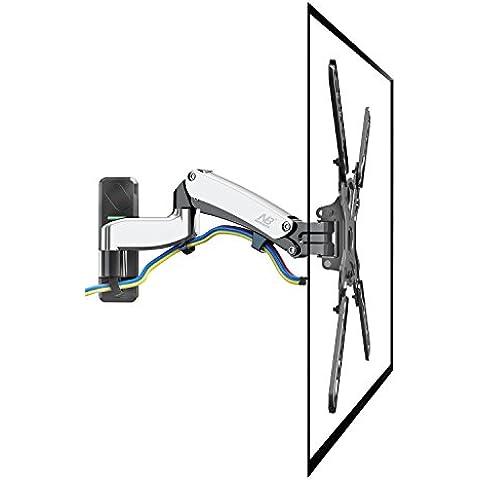 NB F450 Brazo con resorte de gas para pantallas LCD-LED monitores y TV 40-50 pulgadas, 8-16 kg, plata cromo (ERGO 40 - 50