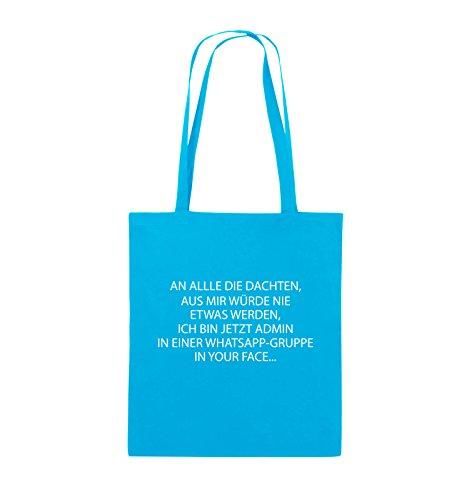 Comedy Bags - ADMIN WHATSAPP GRUPPE - Jutebeutel - lange Henkel - 38x42cm - Farbe: Schwarz / Silber Hellblau / Weiss