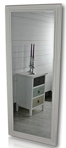 elbmöbel 150x60cm Spiegel in weiß antik mit Patina | Wandspiegel barock aus Holz | im Landhausstil als Badspiegel | Schminkspiegel bzw. Frisierspiegel für das Landhaus | Perfekt als Standspiegel