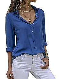 5e36bac8851 laamei Chemisier Femme Manches Longues Tunique Col V Mousseline Top Blouse  Mode Couleur Unie