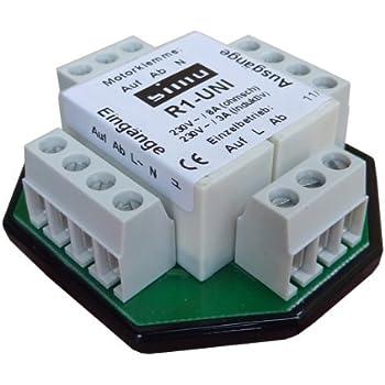 Simu Trennrelais R1-UNI für Rolladenmotor Jalousiemotor Einzelsteuerung / Zentralsteuerung / Gruppensteuerung Relais (max. 2 x Motor)