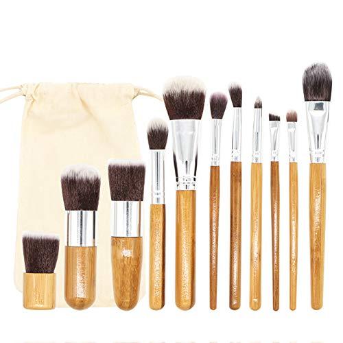 Fansi 11PCS/Set Pinceaux De Maquillage Fond de Teint Pinceau pour Les Yeux Pinceau à lèvres Outils de beauté Kaki Manche en Bambou Cheveux en Nylon