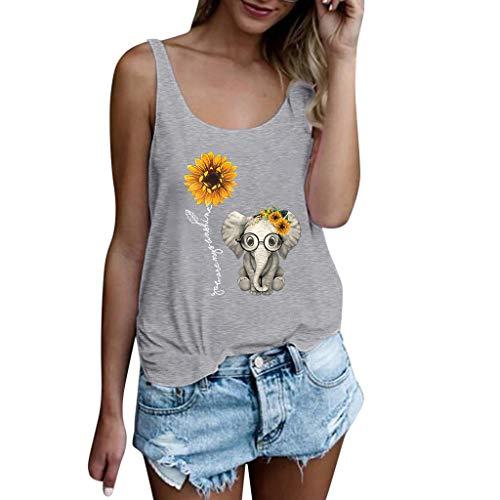 KUKICAT Ms. Love Sunflower - Kurzärmliges Oberteil mit Elefantenmuster