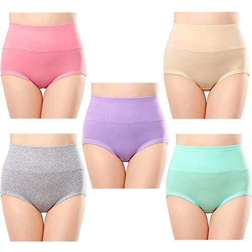 Anntry Braguitas Culotte Algodón para Mujer Bragas de Cintura Alta Cómodo Faja Reductora Ajustan Shapewear Pack de 5 (Colores-5, M)