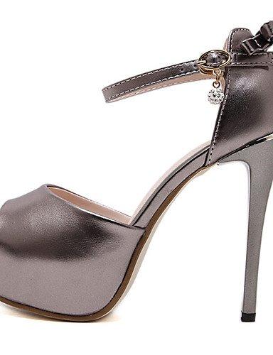 WSS 2016 Chaussures Femme-Habillé / Soirée & Evénement-Noir / Argent / Gris-Talon Aiguille-Talons / Bout Ouvert / A Plateau-Talons-Similicuir gray-us6.5-7 / eu37 / uk4.5-5 / cn37