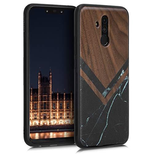 kwmobile Holz Schutzhülle für Huawei Mate 20 Lite - Hardcase Hülle mit TPU Bumper Walnussholz in Holz Glory Marmor Design Schwarz Weiß Dunkelbraun - Handy Case Cover
