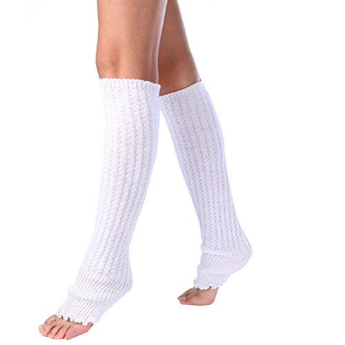 Tinksky Frauen Beinlinge häkeln gestrickte Boot-Abdeckung über Knie Bein Manschette Socken warme weiche Winter (weiß) (Knie-bein-wärmer Über)