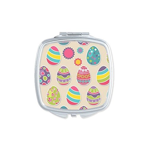 DIYthinker Ostern Religion Christentum Festival Cute Colorful Farbigen Ei Flower Kultur Illustration Muster Square Compact Make-up Taschenspiegel Tragbar Süßer Kleiner Hand Spiegel