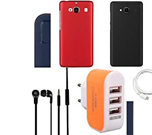 NIROSHA Cover Case Headphone USB Cable Charger car Combo for Xiaomi Redmi 2s Combo
