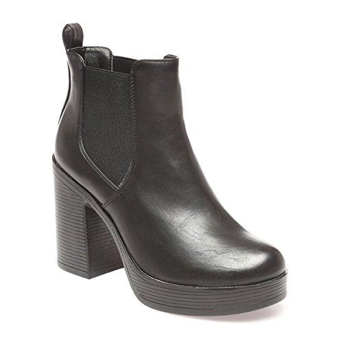 La Modeuse - Bottine Chelsea en simili cuir à talon carré décoré de rainures Noir