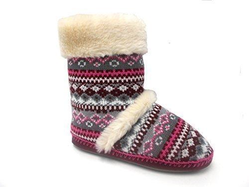 Femmes Chaud Dunlop Pantoufles Bottines Marron