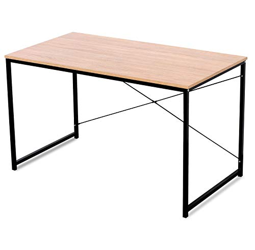 WOLTU TSB04hei Bureau d'ordinateur Table de Bureau pour Travailler Fait de Bois et Acier,Environ 120x60x70cm,Natu