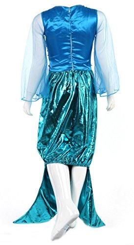 Imagen de traje de sirena con falda larga, mangas, cola y aletas de pescado  disfraz de ariel para fiestas de verano color turquesa  para niñas de 4 5 años alternativa