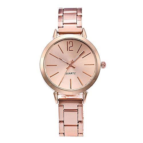 Dilwe Reloj de Pulsera Analógico de Pantalla de Movimiento de Cuarzo Reloj Banda de Reloj de Acero Inoxidable para Mujer 4 Colores(Oro Rosa)
