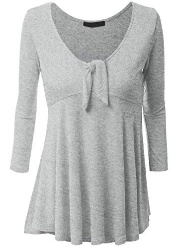 AILIENT Maglietta Donna Camicia Casuale Maglietta Sciolto Manica Lunga V-Collo Allentato Camicetta T-Shirt Eleganti Tops Orlo Irregolare Grey