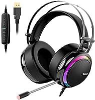 Tronsmart Auriculares gaming profesional con Micrófono Diadema LED-Glary-Cascos Gaming Sonido Envolvente 7.1-Drivers de...