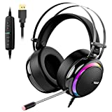 Tronsmart Glary Micro Casque Gaming, Casque de Jeu avec Virtuel 7.1 Son Surround Anti Bruit/LED Lumières/Contrôle Muet/ Soft Pads PC Gamer Casque pour Nintendo Switch, PlayStation 4, MacBook, iMac