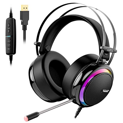Gaming Kopfhörer für PC, Aufgerüstet Tronsmart Glary Dolby 7.1 Surround Sound USB Stecker Gaming Headset mit Mikrofon, Rauschunterdrückung Over Ear Kopfhörer Gaming Headset für Nintendo Switch Gamer - 7.1-surround-sound