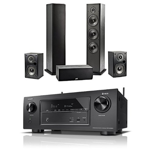 Denon AVRX2400H 7.2 Surround AV-Receiver mit HEOS Integration + 2x Polk Regal-Lautsprecher + 2x Polk Standlautsprecher + 1x Polk Center-Lautsprecher