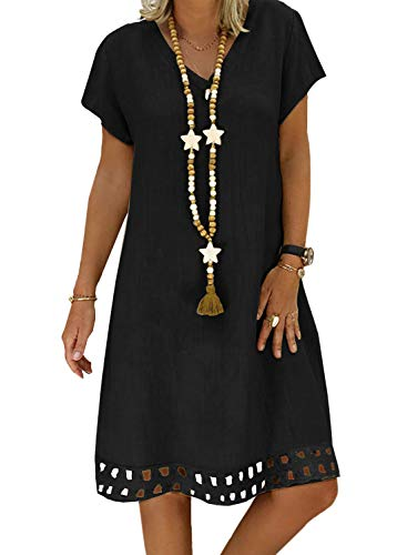 Happy Sailed Damen Kurzarm V-Ausschnitt Bikini Cover Up Strandkleid Bikinikleid Beachwear S-XL 2 Schwarz