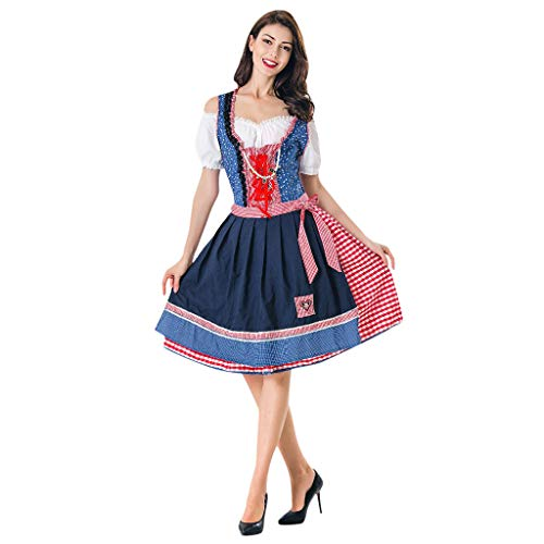 Oktoberfest Kostüm für Damen karnevalskostüme Bierfest Zofe Abendkleid Bayerisches Biermädchen Drindl Taverne Bar Maid Dress Traditionelles Midikleid Karneval Kostüm ZHANSANFM(Blau, XL) Performance Womens Hut