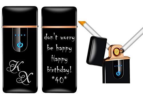 Sensor Touchscreen Feuerzeug Glühspirale mit Gravur nach Wunsch + USB Kabel (Schwarz)
