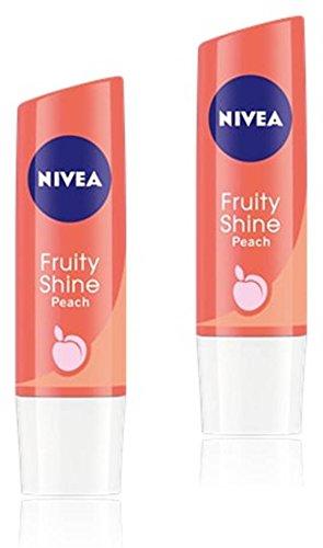 Nivea Lippenpflege Fruity Shine, Pfirsich, 4,8g (2Stück)
