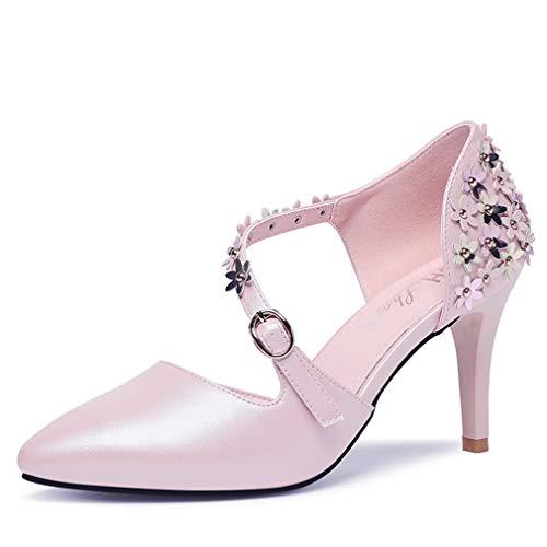 YAN Women es High Heels Spring Summer PU Stiletto Sandals Sexy Ladies Fashion Shoes Pointed Pumps Wedding Party & Evening White Pink,Pink,35