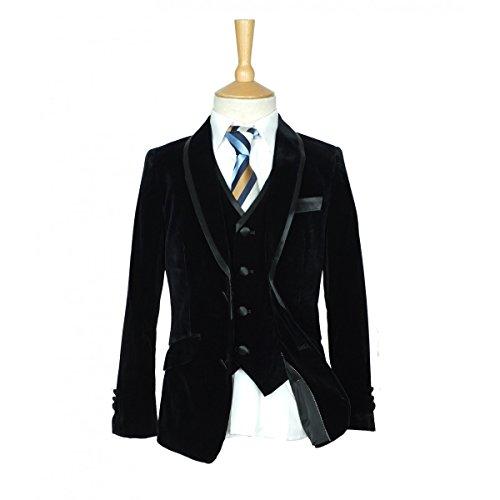 Jungen Italienischer schwarzer Samtanzug in 3 Stück und 5 Stück Kinder Jungen Anzüge (Anzug Stück 3 Schwarz)