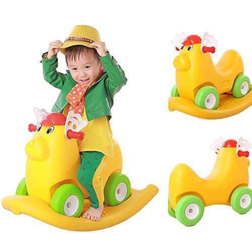 Kind Schaukelpferd Rocker Spielzeug Multifunktions Kleinkind Schaukelstuhl Jo-Jo-auto Balance Training Musik Hund Huhn Motorrad Geschenk,Yellow (Huhn Balance)