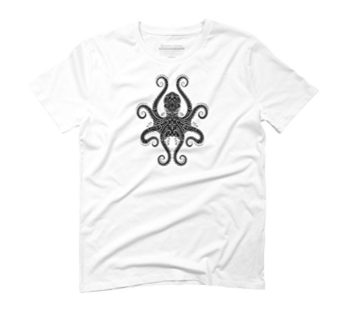 Intricate Dark Octopus Men's Graphic T-Shirt - Design By Humans White