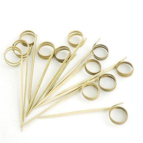 (prexware Bambus Ring Spieße, 8,9cm Loop Spieße, Bambus Spieße Cocktail Picks. 100Zählen.)