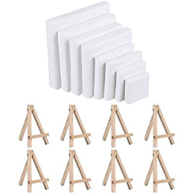 Shappy Mini Canvas Art Stretched Canvas and Wood Display Easel Set for Painting Craft Drawing, 8 Sizes, 8 Sets - cheap UK light store.