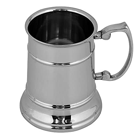 Kosma Stainless Steel Double Wall Beer Mug, Capacity 16oz/470ml with Riveted Contoured Handles | Designer Pint