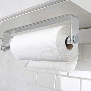 Bogeer Küchenrollenhalter ohne Bohren, Küchenpapierhalter Wandmontage Papierrollenhalter Aufbewahrung Organisator - Aluminium Material