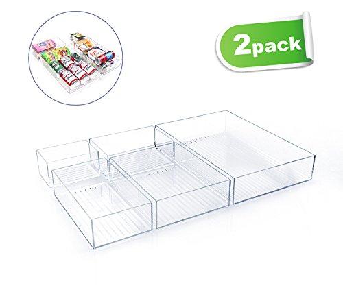 GlobaLink® Acryl Aufbewahrungsbox Aufbewahrungsbehälter für Besteck, Schreibwaren und Kommoden, Lagerung Organizer, durchsichtig (2 Set) (Kühlschrank Schreibtisch Größe)