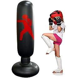 Sac De Frappe Boxe Autoportant Enfant - Sac de Boxe Gonflable Autoportant - Sac De Boxe Frappe Sur Pied - PVC Respectueux De l'environnement - 160cm - Laissez les enfants faire de l'exercice - Noir