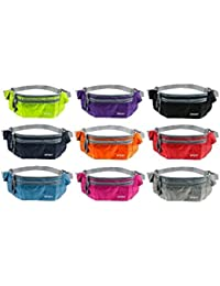 Buyworld Waterproof Women Men Waist Packs Unisex Nylon Zip Bag Waist Pack Pouch Travel Belt Bag