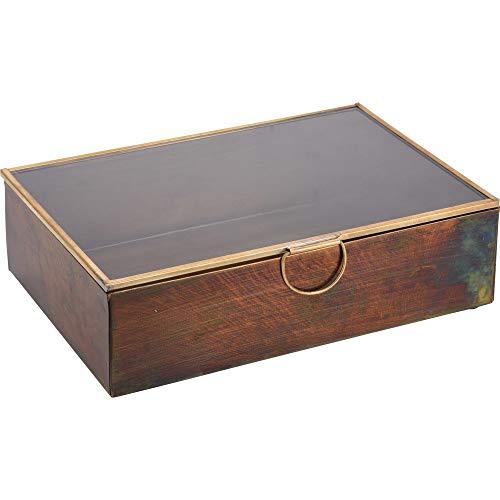 Home @ Styling Collection Aufbewahrungsbox aus Holz mit Glas Deckel Schmuckkästchen (20x14x6 cm) (Home-styling)