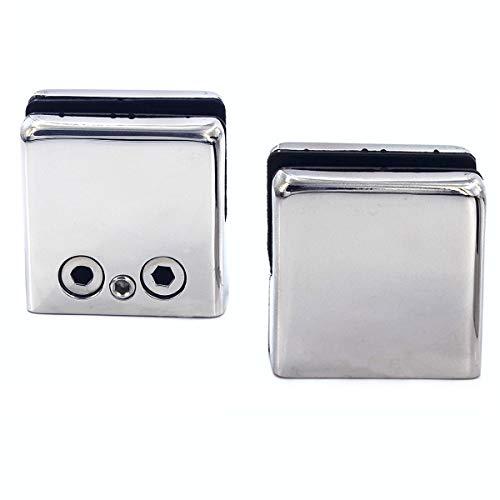 2 morsetti per vetro antiruggine in acciaio inox 304, adatti per vetro di spessore 6-8 mm, montaggio a parete per casa, scale, WC, balcone