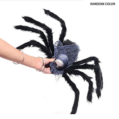 Basisago Simulierte Plüsch Spinne Spielzeug Halloween Streich Requisiten leuchtende beängstigend rote LED Augen, ideal für Streiche und Halloween-Dekorationen und Spukhäuser