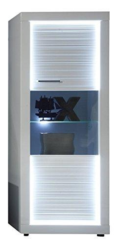 trendteam Wohnzimmer Vitrine Schrank Wohnzimmerschrank Starlight, 60 x 156 x 41 cm in Korpus Weiß, Front Weiß Glanz mit Rillenoptik mit LED Beleuchtung -