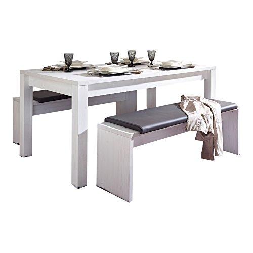 Stella Trading Esstisch mit Auszieh-Funktion Esstisch, Holz, weiß, (B/H/T) 160 x 77 x90 cm