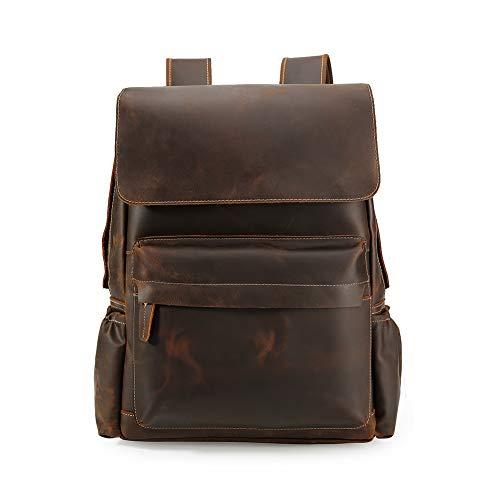 Vints Herren Jahrgang Echtes Leder Rucksack - Für 15,6-Zoll-Laptop Weekender Tote Daypacks mit großer Kapazität Rucksäcke