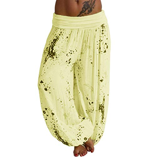 WOZOW Damen Harem Hosen Freizeithose Boho Dye Splash Painting Print Bloomers Lose Casual Lang Long Weites Bein Palazzo Pyjama High Waist Yoga Trousers Stoffhose (M,Zitronengelb) Dye Capri-hosen