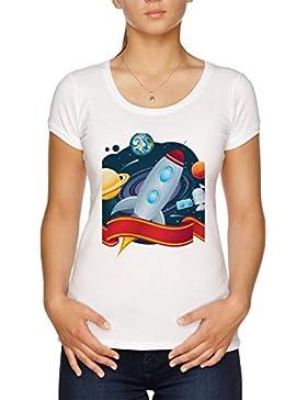 Vendax Interestelar Cohete Vuelo Camiseta Mujer Blanco