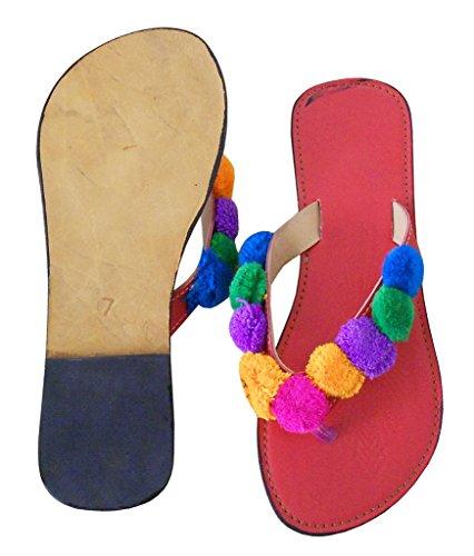 kalra Creations Femme en Cuir traditionnel indien ethnique Pantoufles Rouge