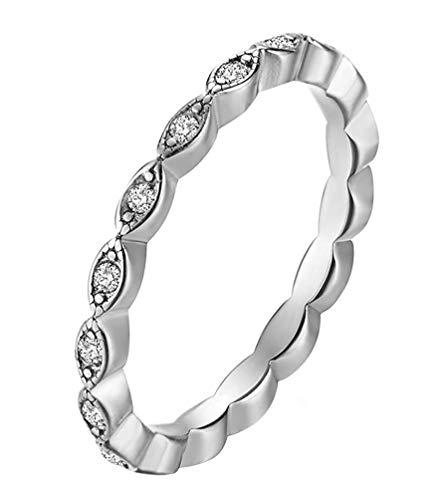 YBMEN 2MM Thin Stacking Ring Mirco Pave Zirkonia Eternity Edelstahl Ring engagament Wedding Band Frauen Silber (Pave Diamond Wedding Ring)