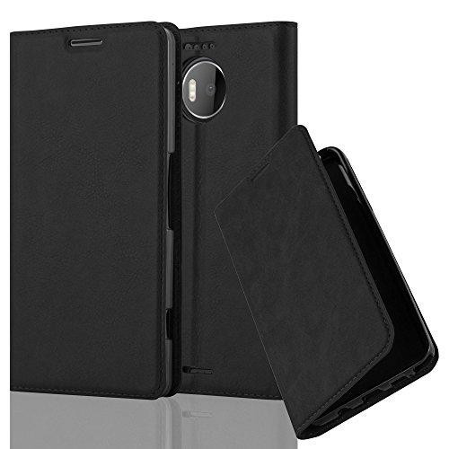 Cadorabo Hülle für Nokia Lumia 950 XL - Hülle in Nacht SCHWARZ – Handyhülle mit Magnetverschluss, Standfunktion und Kartenfach - Case Cover Schutzhülle Etui Tasche Book Klapp Style